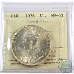 1936 Canada $1 ICCS Certified MS-63.