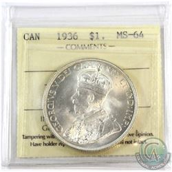 1936 Canada $1 ICCS Certified MS-64.