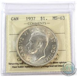 1937 Canada $1 ICCS Certified MS-63.