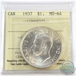 1937 Canada $1 ICCS Certified MS-64.