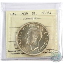 1939 Canada $1 ICCS Certified MS-64.