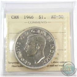 1946 Canada $1 ICCS Certified AU-50.