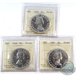 1958, 1959, 1960 Canada $1 ICCS Certified PL-65. 3pcs.