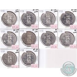 Lot of 1958 Canada $1 Collection in EF-AU or Better Condition (impaired). You will receive 1x EF-AU,