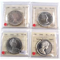1960-1966 Canada $1 ICCS Certified Collection. You will receive 1960 PL-65, 1962 PL-65, 1965 SmBds P