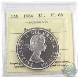 1964 Canada $1 ICCS Certified PL-66 Heavy cameo.