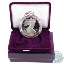 1990 United States Proof 1oz Fine Silver Eagle in all original mint packaging with COA (Tax Exempt).