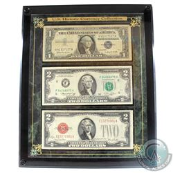 United States Currency Collection in Presentation Frame. You will receive a 1x $1 Note (1957), and 2