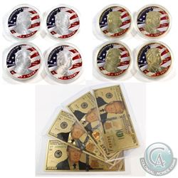 Novelty United States Note & Medallion Collection. You will receive 4x Gold Plated Medallions, 4x Si