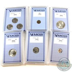1922-1980 United States AACGS Certified Coin Collection. You will receive 1922 $1 MS-62, 1964 'P' 10