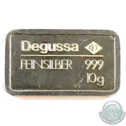 Degussa 10g .999 Fine Silver Bar.