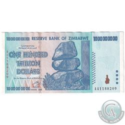 2008 Zimbabwe 100 Trillian Dollar Banknote *Scarce*. Serial # AA1188209. Note is in AU-Unc Condition