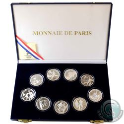 1992 Albertville, France Winter Olympics .900 Silver 9-coin Set in Original Display Case with COAs f