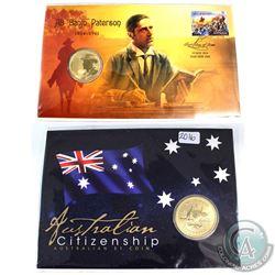 2014 Australia AB 'Banjo' Paterson $1 First Dat issue & 2016 Australian Citizenship $1 Coin. 2pcs.