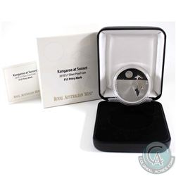 2010 Australia $1 Kangaroo at Sunset F15 Privy Mark 1oz Fine Silver Proof Coin (Tax Exempt). Coin co