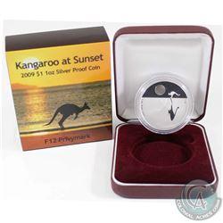 2009 Australia $1 Kangaroo at Sunset F12 Privy Mark 1oz Fine Silver Proof Coin (Tax Exempt).