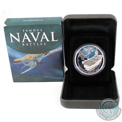 2011 Australia $1 Famous Navel Battles - Midway 1oz Fine Silver Coin (Tax Exempt). Outer box has min