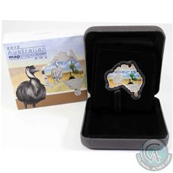 2012 Australia $1 Map Shaped - Emu - Fine Silver Proof Coin (Tax Exempt)