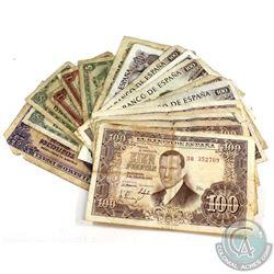 Estate Lot: Mixed Lot 1951-1970 Spain Banknotes. 23pcs.