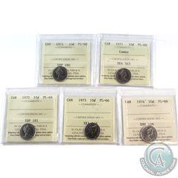 1971-1974 Canada 10-cent ICCS Certified PL-66 - 1971, 1971 Cameo, 1972, 1973 & 1974. 5pcs