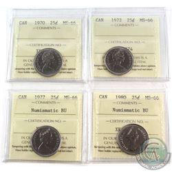 1970-1980 Canada 25-cent ICCS Certified MS-66 - 1970, 1972, 1977 NBU & 1980 NBU. 4pcs