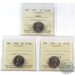 1962 Cameo & 2x 1963 Canada 5-cent ICCS Certified PL-66. 3pcs