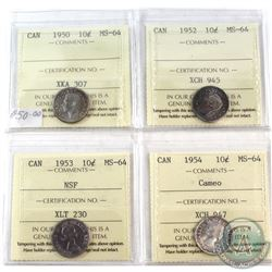1950-1954 Canada 10-cent ICCS Certified MS-64 - 1950, 1952, 1953 NSF & 1954 Cameo. 4pcs