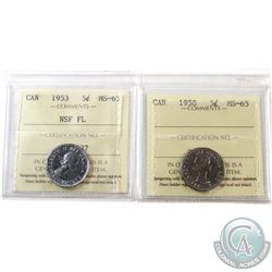 1953 NSF FL & 1958 Canada 5-cent ICCS Certified MS-65. 2pcs