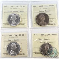 1964-1968 Canada 50-cent ICCS Certified - 1964 PL-64 Ultra Heavy Cameo, 1965 PL-65 Heavy Cameo, 1966