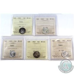 1960-1964 Canada 10-cent ICCS Certified MS-65 - 1960 Cameo, 1962, 1963 Cameo, 1963 & 1964 Cameo. 5pc