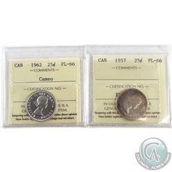 1957 & 1962 Cameo Canada 25-cent ICCS Certified PL-66. 2pcs