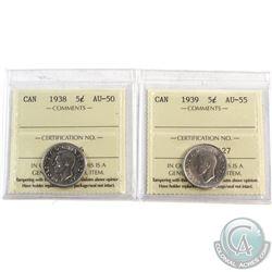 1938 Canada 5-cent ICCS Certified AU-50 & 1939 5-cent ICCS AU-55. 2pcs