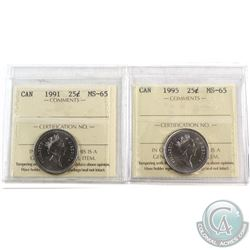 1991 & 1995 Canada 25-cent ICCS Certified MS-65. 2pcs