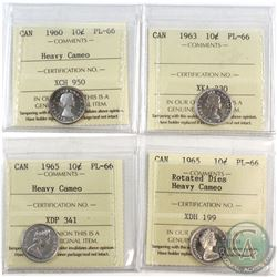 1960-1965 Canada 10-cent ICCS Certified PL-66 - 1960 Heavy Cameo, 1963, 1965 Heavy Cameo & 1965 Rota