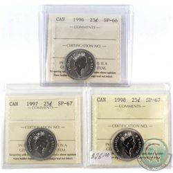 1996-1998 Canada 25-cent ICCS Certified - 1996 SP-66, 1997 SP-67 & 1998 SP-67. 3pcs