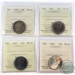 1963-1966 Canada 25-cent ICCS Certified MS-65. 4pcs