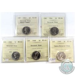 Lot of 1963-1968 Canada 5-cent ICCS Certified Rotated Dies - 1963 PL-65 Heavy Cameo, 1964 MS-64, 196