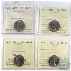 1959-1962 Canada 5-cent ICCS Certified MS-65. 4pcs