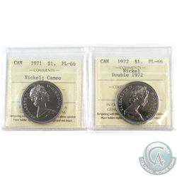 1971 & 1972 Double 1972 Canada Nickel $1 ICCS Certified PL-66. 2pcs