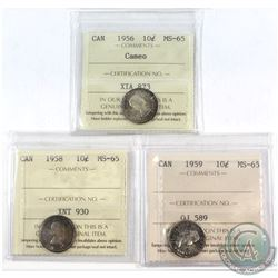 1956 Cameo, 1958 & 1959 Canada 10-cent ICCS Certified MS-65. 3pcs