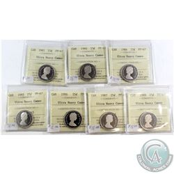 1981-1988 Canada 25-cent ICCS Certified PF-67 Ultra Heavy Cameo - 1981, 1982 & 1984-1988. 7pcs