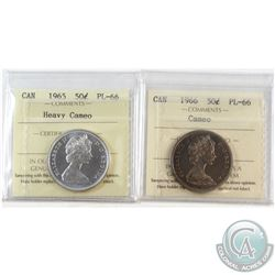 1965 Heavy Cameo & 1966 Cameo Canada 50-cent ICCS Certified PL-66. 2pcs