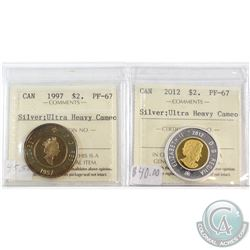 1997 & 2012 Canada $2 Silver ICCS Certified PF-67 Ultra Heavy Cameo. 2pcs