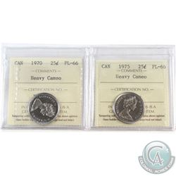 1970 & 1975 Canada 25-cent ICCS Certified PL-66 Heavy Cameo. 2pcs