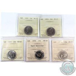 1970-1979 Canada 25-cent ICCS Certified MS-65 - 1970, 1972, 1977, 1978 Small Denticles & 1979. 5pcs