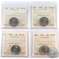 1933-1941 Canada 5-cent ICCS Certified - 1933 VF-30, 1935 EF-40, 1940 MS-62 & 1941 AU-55. 4pcs
