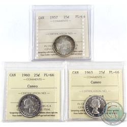 1957, 1960 Cameo & 1963 Cameo Canada 25-cent ICCS Certified PL-66. 3pcs