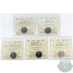 1977-1979 Canada 10-cent ICCS Certified MS-67 Numismatic BU - 1977, 1978, 1978 Double 8, 1978 Double