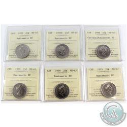 1989-1999 Canada 25-cent ICCS Certified MS-67 Numismatic BU - 1989, 1990, 1993, 1995, 1998W & 1999.