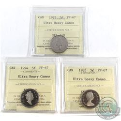 1985, 1993 & 1994 Canada 5-cent ICCS Certified PF-67 Ultra Heavy Cameo. 3pcs